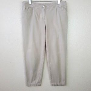 Eileen Fisher Organic Cotton Blend Tan Crop Pants